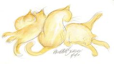 Daily Sketch Reprise: Four Cats A-Bathing, 2013