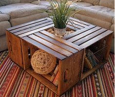 10 Home Ideas Using Recycled Wooden Crates and Pallets-2. Coffee Table It's a coffee table/ junk holder too! Via: DIY Pallet Furniture
