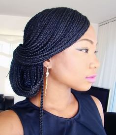 Box Braids Updo Styles Collection creative ways to style your box braids wedding digest Box Braids Updo Styles. Here is Box Braids Updo Styles Collection for you. Box Braids Updo Styles the coolest box braids hairstyles you need to try th. Micro Braids Styles, Updo Styles, Curly Hair Styles, Natural Hair Styles, Box Braid Styles, Twist Styles, Box Braids Updo, Box Braids Styling, Dookie Braids