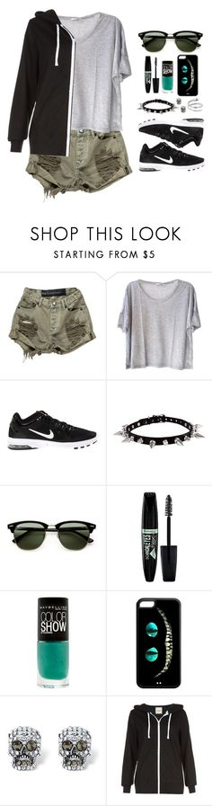 """""""Untitled #295"""" by anda-cazacu ❤ liked on Polyvore featuring Clu, NIKE, Ray-Ban, Rimmel, Maybelline, Palm Beach Jewelry, jeanshorts, denimshorts and cutoffs"""