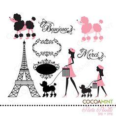 Paris Poodle Clipart - Clipart Suggest Paris Birthday Parties, Paris Party, Paris Theme, Spa Birthday, Thema Paris, Mode Rose, Pink Poodle, I Love Paris, Pink Paris