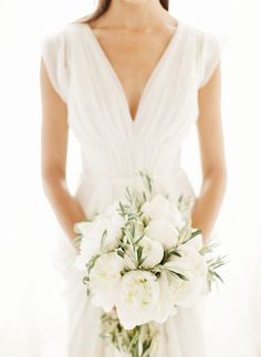 deep v neck wide strap ivory chiffon wedding dress