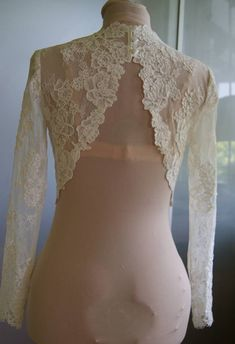 Wedding bolero-top-jacket of lacealencon sleeve long or by TIFFARY $185