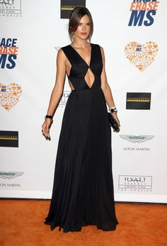 Alessandra Ambrosio.. Vionnet Spring 2014 all-black gown with diamond peekaboo cutouts..