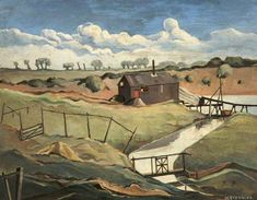 Norfolk Landscape by Harold Steggles (ELG) @ Salford Museum Camden London, Camden Town, East London, Salford, Art Uk, Art For Art Sake, Norfolk, Urban Art, Illustration Art