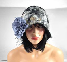 Felted Hat Cloche hat Flapper Hat grey hat RUSSIAN by filcant, $159.00