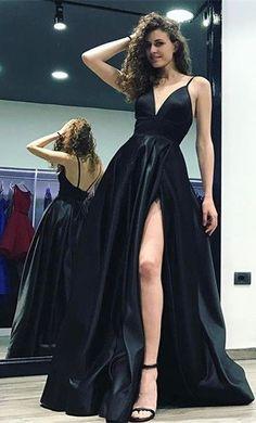 spaghetti straps prom dresses, high split side prom dresses black