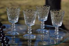 Vintage Etched Crystal Wine Glasses  Water by Antiquevintagefind
