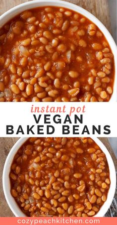 These vegetarian baked beans are easy to make in your Instant Pot or pressure cooker in just about an hour- no overnight soaking required! Tender baked beans made with your favorite barbecue sauce, onions, and garlic. The perfect easy side dish! Easy Bean Recipes, Baked Bean Recipes, Vegetarian Baked Beans, Vegetarian Recipes, Vegan Vegetarian, Best Instant Pot Recipe, Instant Pot Dinner Recipes, Southern Baked Beans, Bbq Beans
