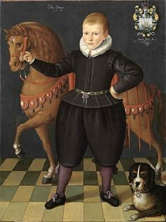 1618 Circle of Jan Claesz (Enkhuizen painter, b 1570- a 1618) An 8-year-old Boy of the Blauhulck Family with a Horse and a Dog
