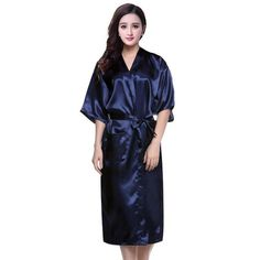 c38a8d5d2f53 PURPLE Womens Robe Hot Sale Faux Silk Kimono Bath Gown Female Sexy Bathrobe  Nightgown Mujer Pijama Size S M L XL XXL XXXL Zh02A