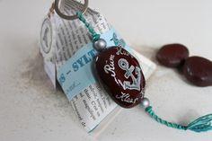 Sylter Meeresherz  (seaheart, seabean, driftseed, entada) handbemaltes Strandgut Taschenanhänger, Schlüsselanhänger, Keychain -rüm hart klaar kiming- Anker von Lou loves birds - SYLT auf DaWanda.com