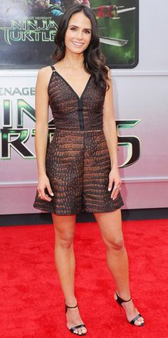 AUGUST 4, 2014 Jordana Brewster stepped up her style quotient at the Teenage Mutant Ninja Turtles premiere in a bronze croc-embossed romper, complete with diamond EFFY Jewelry and black stilettos.