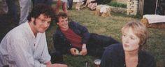 """""""Pride & Prejudice's, Colin Firth (Mr. Darcy), Crispin Bonham-Carter (Mr. Bingley), and Jennifer Ehle, sans brunette wig (Elizabeth Bennet)."""