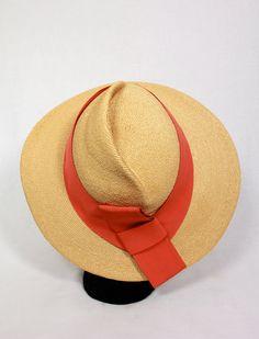 87031e567ba Vintage 1940s Asymmetrical Wide Brim Straw Hat w Orange Ribbon