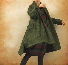 Green Cashmere Coat Wool Coat Long Wool Coat by camelliatune