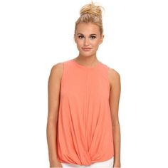 KAS New York Camille Knit Tank Women's Sleeveless, Pink ($30) ❤ liked on Polyvore featuring tops, pink, red tank, red sleeveless top, pink tank top, drapey tank and sleeveless tank tops