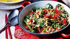 Red pepper & coconut stir-fried rice. Silvana Franco shows you how to make this vibrant rice which counts for two of your five a day.