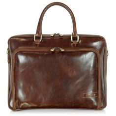 f8ab036903e8c Chiarugi Briefcases Dark Brown Double Handle Leather Zip Briefcase (€430) ❤  liked on