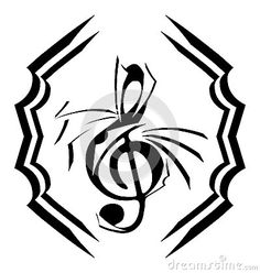 An example of tattoo with treble clef. A project that can be used as logo or in other projects about music.
