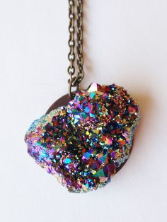 Titanium quartz druzy necklace LEAH