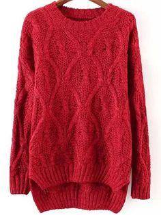 Red Round Neck Dip Hem Sweater