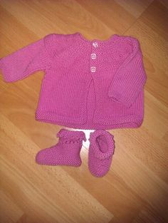 Pink cardi and bootees for Violet.