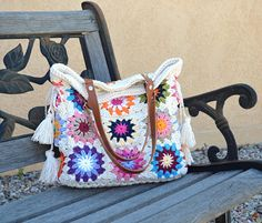 Crochet granny squares handbag with tassels and genuine