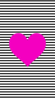 Black and White Stripe Heart iPhone 6 Wallpaper