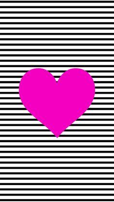 Black and White Stripe Heart