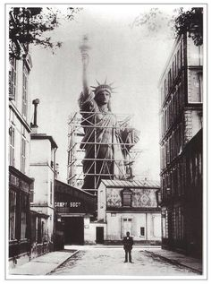 The Statue of Liberty under construction, rue de Chazelles in Paris in before being transported to New York.