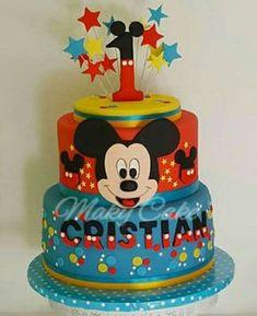 Torta Topolino 08 Pastel Mickey, Mickey And Minnie Cake, Bolo Mickey, Mickey Mouse Birthday Cake, Mickey Cakes, Cupcake Birthday Cake, Birthday Party Tables, Mickey Party, Hennessy Cake