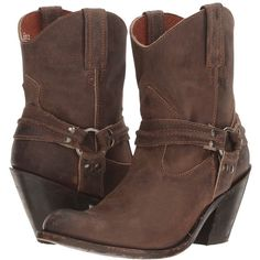 Dan Post Charlotte (Brown Zip Round Toe) Cowboy Boots ($205) ❤ liked on Polyvore featuring shoes, boots, mid-calf boots, western boots shoes, platform boots, harness boots, brown boots and western boots