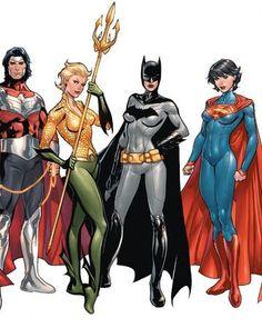 The Multiversity (DC Comics) Wonderus Man, Aquawoman, Batwoman, and Superwoman by Emanuela Luppachino, colours by Tomeu Morey - Visit to grab an amazing super hero shirt now on sale! Heros Comics, Math Comics, Dc Comics Characters, Comics Girls, Dc Heroes, Dc Comics Women, Batwoman, Batgirl, Supergirl