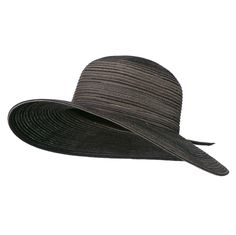 UPF 40  Poly Braid 4 Inch Flat Brim Hat - Black