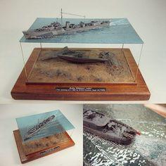 Fantastic!!! Ruhe Männer ruhe! (The sinking of U-589 by HMS Onslow. Sept 14. 1942). Modeler Jonas Dahlberg #scalemodel #plastimodelismo #miniatura #miniature #hobby #diorama #plastickits #usinadoskits #udk #scalemodelkit