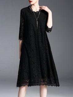 #AdoreWe #StyleWe Midi Dresses - GYALWANA Elegant Crocheted Lace Midi Dress - AdoreWe.com