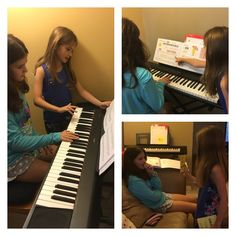 My youngest is teaching my oldest piano! So sweet!
