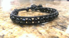 Onyx Crystal Healing Single Wrap Bracelet with Tree of Life Button by DoubleDeesigns on Etsy