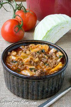 Crock Pot Low Carb Un-Stuffed Cabbage Roll Soup- grain free, gluten free- sugarfreemom.com