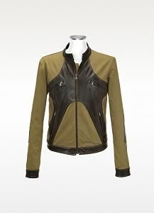 FORZIERI Brown & Olive Italian Leather and Cotton Motorcycle Jacke