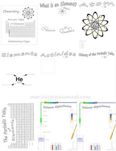 Chemistry: Periodic Table of Elements Notebooking Pages - Marine Corps Nomads Chemistry Lessons, Teaching Chemistry, Science Chemistry, Physical Science, Science Lessons, Science Education, Earth Science, Science Activities, 7th Grade Science