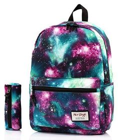 Unisex Fashion School Backpack Galaxy Canvas Bag Matching Pencil Case Teen Kids…