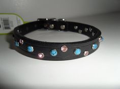 Turquoise Leather Dog Collar Pink Dog Collar by StarBoundWestern Pink Dog Collars, Leather Dog Collars, Pet Collars, Teal, Turquoise, Pink Bling, Medium Dogs, Black Leather, Unique Jewelry