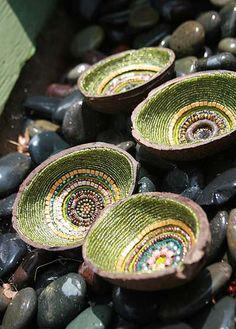 Beaded coconut shells by Julie Zarrow Erickson (copyright Julie Zarrow Erickson)