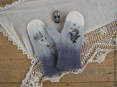 """Купить Варежки валяные """"Ёжик в тумане"""" - рисунок, варежки, варежки валяные, варежки ручной работы"""