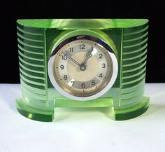 Streamline Moderne, probably. [Art Deco Uranium glass clock ~ Photo by kingofbananas]