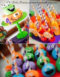 Monster themed birthday party via Karas Party Ideas Printable monster party hats Boys Monster party! Little Monster Party, Monster Inc Party, Monster Birthday Parties, First Birthday Parties, Birthday Party Themes, Boy Birthday, Girl Parties, Fourth Birthday, Birthday Ideas