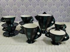 San Polo Ceramics Coffee Tea Set Italy F/2 VTG MCM 15 Piece Black Teal Purple