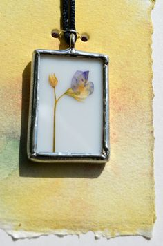 Stained Glass Pendant Necklace with Real Dry Pressed Flowers by BayouGlassArts, $32.00